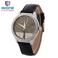3SK02 Woman Fashion Watch SKONE Brand Clock Genuine Leather Watch Imitation Diamond Watch Tree Design Dress watch