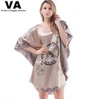Plus Size Sleepwear Plus Size Robe Bathrobes Batwing Sleeve Circle Print Rayon Silk Nightgowns Women New Loose Nightgown W00169