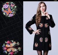 2015 New fashion flower embroidery wool coat O-neck long sleeve woolen outwear autumn winter coat outwear plus size overcoat