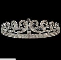High Quality Clear Crystal Rhodium Wedding Bridal Veil Tiara Crown Headband
