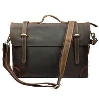 Vintage real genuine leather bag men shoulder bag tote leisure crazy horse leather laptop briefcase bags for man
