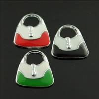 10pcs/lot 22*20mm chrome plated mix colors enamel handbag charms