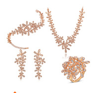 Fashion Women Jewelry Sets Rose Gold Five Petals Flower Crystals Necklace+Bracelet+Earrings+Rings Party Anniversary
