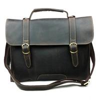 Retro men's casual leather bag 100% real crazy horse genuine leather men messenger bags shoulder tote bag handbags men briefcase