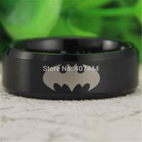 Free Shipping USA UK Canada Russia Brazil Hot Sales 8MM Satin Black Beveled Batman RING New Men's Fashion Tungsten Wedding Ring