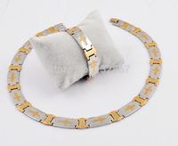 Brand New Men's Jewelry Set Cross Logo Necklace bracelet Set Stainless Steel Collar Chain 2-Tone
