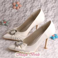 More Colors Magic Custom Handmade Pointed Toe 9.5CM Thin Heels Wedding Shoes Beige Free Shipping
