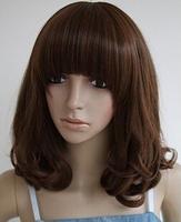 Women's Full Wig Cap Fashion Hair Cosplay Fluffy Style Medium Curly Hair Wigs+Free Wig Cap