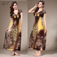 Plus Size New Arrival Summer Women Dress Sexy V Neck Vintage Fashion Print Leopard Ladies Long Dresses