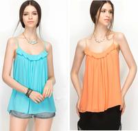 Plus Size S-4XL vestidos 2015 Spring Summer Casual Shirts Sleeveless Spaghetti Strap Sexy Chiffon shirts Women Blouses Vest Tops