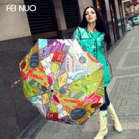 Fino hit color graffiti creative umbrella creative personality women and three folding umbre