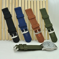 10pcs/lot wholesale Outdoor sports thick canvas strap waterproof nylon strap watch band Belt 18mm 20mm Free Shipping