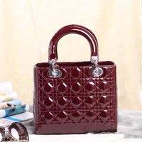 Top quality original brand luxury LADY genuine patent leather burgundy silver women tote fashion handbag free shipping wholesale