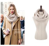 2014 Fashion Style Unisex Winter knitting Wool Collar Neck Warmer Scarf Woman Ring Scarf Shawl