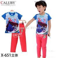 High quality baby girls short sleeve frozen clothes set / children 2-7 years sleepwear