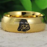 Free Shipping USA UK Canada Russia Brazil Hot Sales 8MM 18K Golden Dome Star Wars Darth Vader Mens Fashion Tungsten Wedding Ring