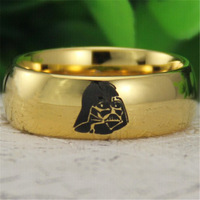Free Shipping USA UK Canada Russia Brazil Hot Sales 8MM 18K Golden Dome Star Wars Darth Vader Mens Fashion Tungsten Wedding Ring