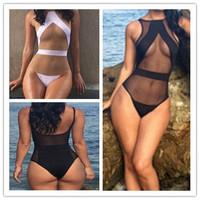 2015 One Piece Mesh Sheer Swimsuit For Women, Sexy High Waist Cut Out Monokini Swimwear push up Bathing Suit bodysuit