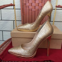 Free shipping gold glitter pointed toe12cm lady high heel pump with platform real pictures wedding party bride shoes