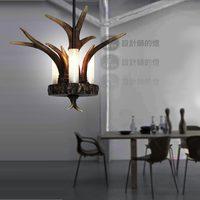 Retro designer lamps American country European pastoral simplicity small antlers restaurant bar single head lamp chandelier