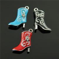 10pcs/lot 21*16mm chrome plated mix colors enamel boots charms