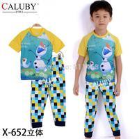 high quality boys short sleeve snowman plaid clothes set / children pajamas / kids 2-7 years sleepwear