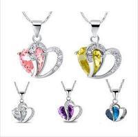 (10pcs/lot) Necklaces & Pendants Silver Platinum-Plated Necklace Double Hearts Pendant Best Zircon Free Shipping