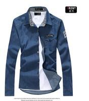 New 2014 Autumn Denim Shirts Men Jeans Shirt Long Sleeve Wash Vintage Male Dress Shirt Casual Chemise Homme Camisetas masculinas