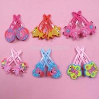 Wholesale girls kids Peppa pig Doll Metal hair Barrette Head Hair clips hairgrips Christmas accessories Hairpin Headwear RJ3035