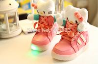 autumn winter fashion boots children Girls hello kitty bow princess shoes baby kids Plush cat  causal cotton boots botas