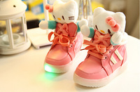 autumn winter fashion boots children Girls hello kitty bow princess shoes baby kids Plush cat  causal cotton boots botas