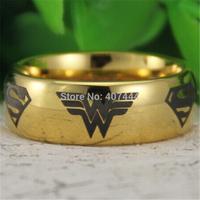 Free Shipping USA UK Canada Russia Brazil Hot Sales 8MM 18K Golden Dome Wonder Woman&Superman Mens Fashion Tungsten Wedding Ring