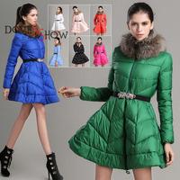 2014 fashion women cotton-padded coat Large Raccoon Fur Collar Duck Feather Down Jacket Women Medium-long Jacket winter outwear