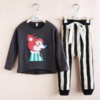 2014 Fashion Children's clothing set 1pcs fox baby t-shirt+1pcs harem pants  autumn set twinset