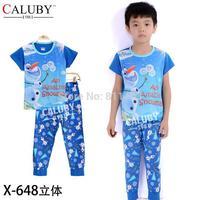 hot selling boys short sleeve blue snowman clothes set / children 2-7 years pajamas / kids sleepwear