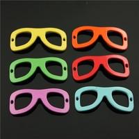20pcs/lot 40*15mm random send mix color color metal zinc alloy glasses charms
