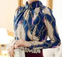 Free Shipping Newest Fashion Women's Shirts Professional OL Flocking STANDUP Lace Chiffon Autumn and Winter Thick Coat