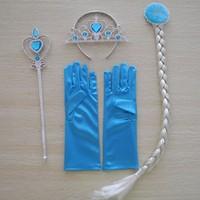 1set Princess Elsa Anna Frozen Queen Magic Wand Tiara Crown Braid costume Wig Gloves Set Blonde Hair headwear for girls Cosplay
