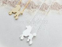 Wholesale 12pcs/lot Gold Silver Animal Poodle Pet Tiny Charm Necklace Chocker necklace Free Shipping