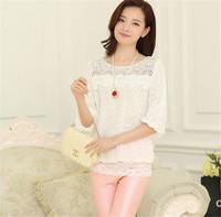 Fashion Lace Chiffon Lady Blouse Brand Quality Casual Style White/Pink/Sky Blue Colors Plus Size Long Sleeve Women Blouses E5146