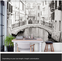 Free shipping custom large wall living room TV background wallpaper 3D landscape in black and white large mural in Venice