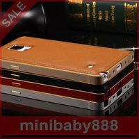 Snow Chennai children  metal frame lychee striae cover protective shell   Samsung Galaxy Note4 N9100 N9108v