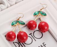Big Cute Cherry Earring 2014 New Arrival Lovely Cherry Earring Sweet Girls Fruit Earring Summer Green Leaves Red Cherry Jewelry