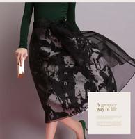 Autumn Winter Fashion Womens Vintage Retro Hepburn Bow Tie  Organza High Waist A-Line Knee-Length Midi Skirts Ball Gown