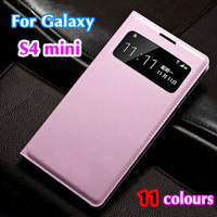 Slim Smart Touch View Sleep Wake Function Original Leather Case Flip Cover Holster For Samsung Galaxy S4 Mini I9190 I9192 I9195