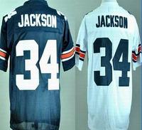 Free Shipping Cheap Bo Jackson Jerseys #34 Auburn Football Jersey Throwback college ncaa jerseys White Blue Embroidery Logo