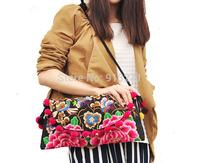 Elegant Ladies Canvas Messenger Shoulder Bags Women Handbags IPAD Bag Floral Embroidery Plush Ball Charsm Christmas Gift  Hot
