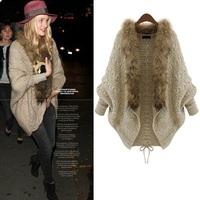 fashion faux fox fur collar knitwear women sweater cardigan cashmere sweater women knit cardiga tops,cardigan feminino,WTW