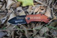 Hot sale ! BOKER Plus DA33 Camping Pocket Knives Hungting Folding Knife 440C 56HRC Black Blade + Wood Steel Handle Free shipping