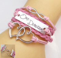 fashion  Style Leather Cute Infinity Charm Printing  one  Direction Bracelet U pick  By double figures eight of love and connect